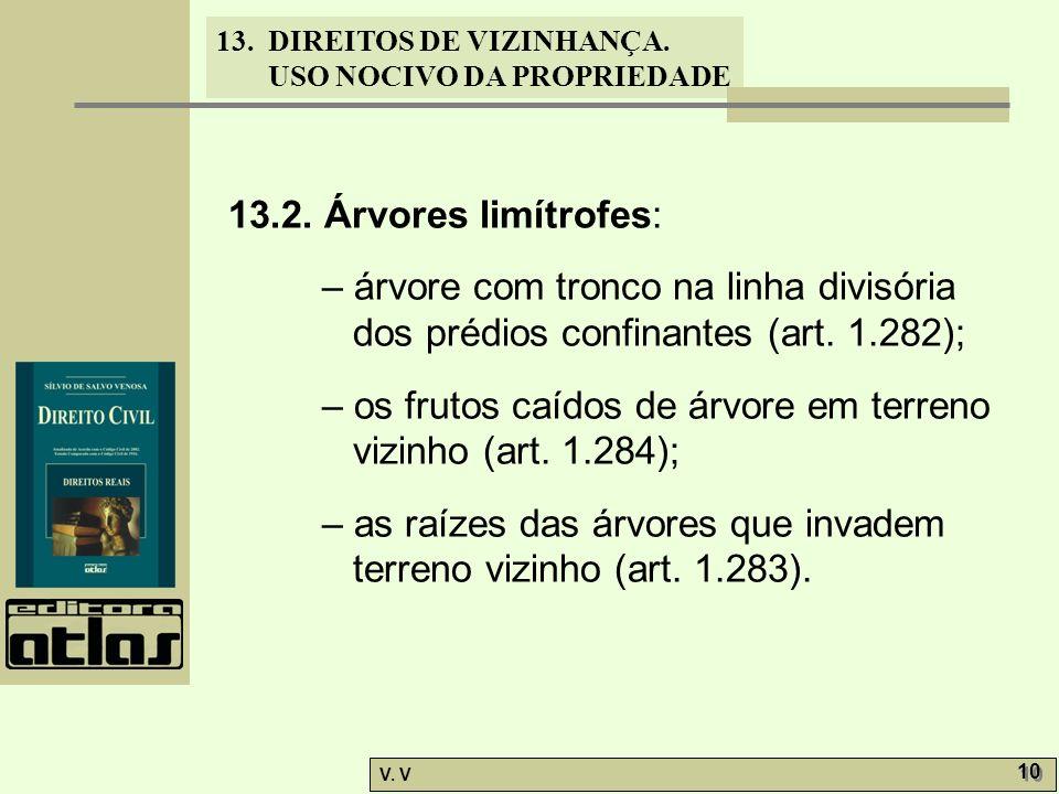13.2. Árvores limítrofes: – árvore com tronco na linha divisória dos prédios confinantes (art. 1.282);
