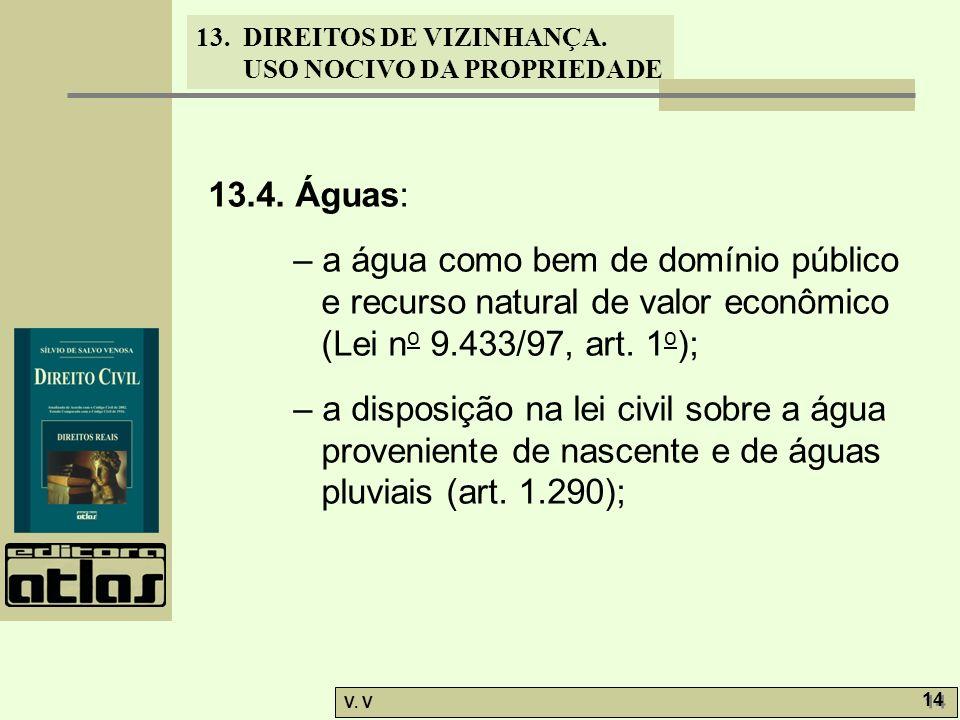 13.4. Águas: – a água como bem de domínio público e recurso natural de valor econômico (Lei no 9.433/97, art. 1o);
