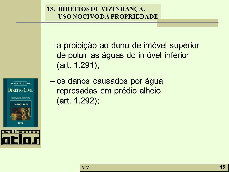 – a proibição ao dono de imóvel superior de poluir as águas do imóvel inferior (art. 1.291);
