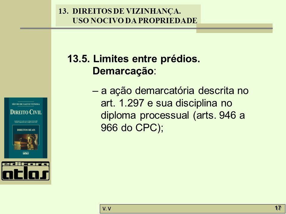13.5. Limites entre prédios. Demarcação: