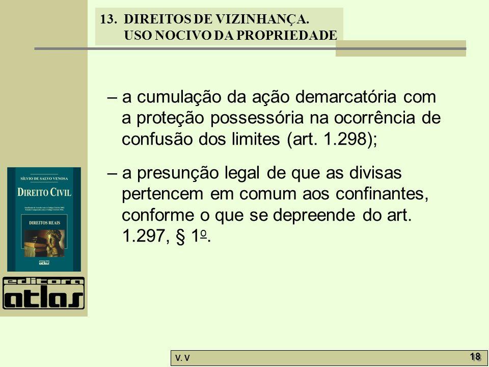 – a cumulação da ação demarcatória com a proteção possessória na ocorrência de confusão dos limites (art. 1.298);