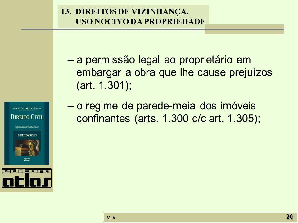 – a permissão legal ao proprietário em embargar a obra que lhe cause prejuízos (art. 1.301);