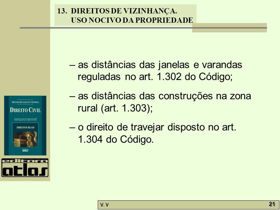 – as distâncias das janelas e varandas reguladas no art. 1