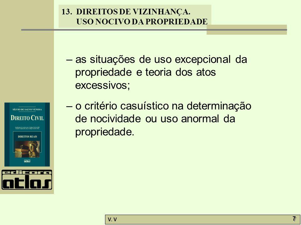 – as situações de uso excepcional da propriedade e teoria dos atos excessivos;