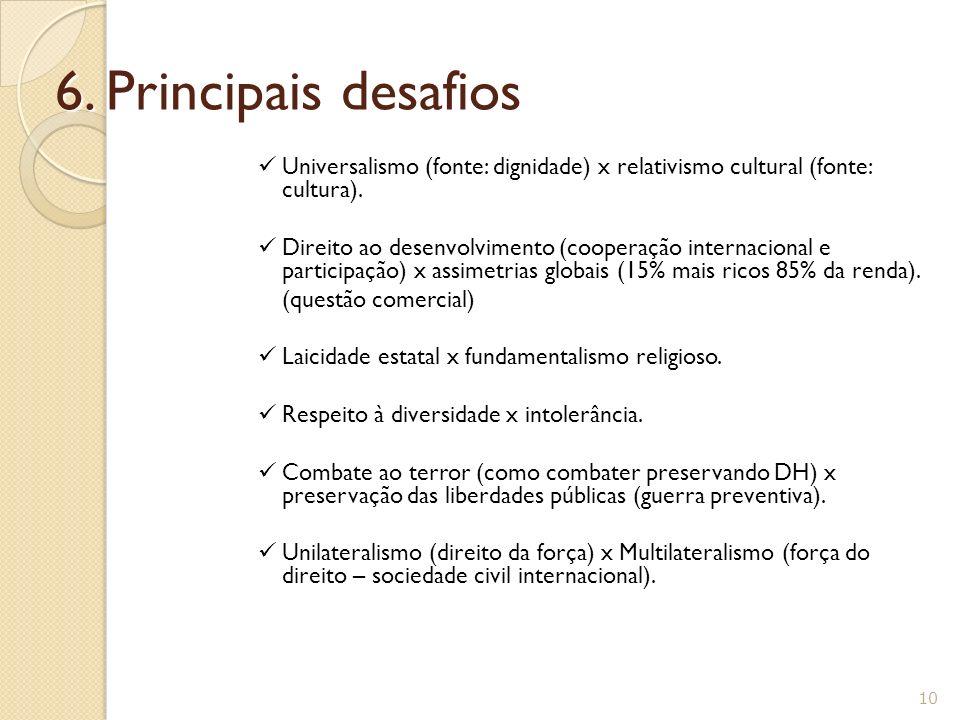 6. Principais desafios Universalismo (fonte: dignidade) x relativismo cultural (fonte: cultura).