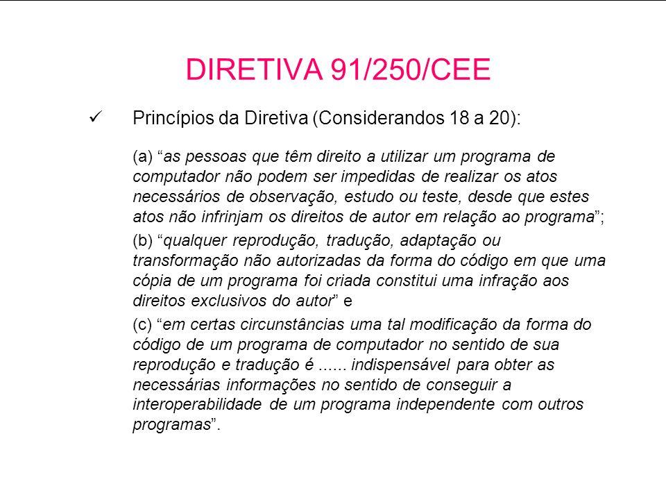 DIRETIVA 91/250/CEE Princípios da Diretiva (Considerandos 18 a 20):