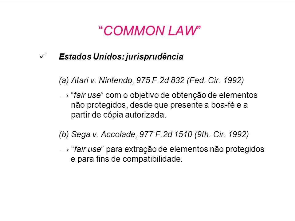 COMMON LAW Estados Unidos: jurisprudência