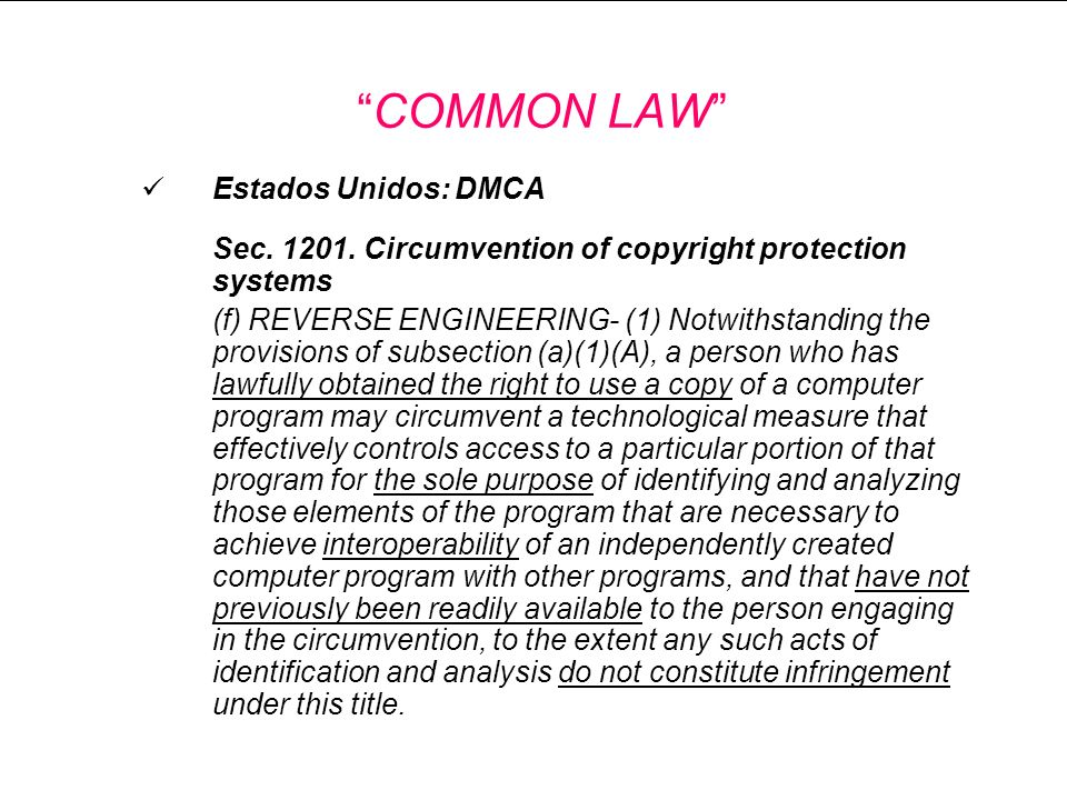 COMMON LAW Estados Unidos: DMCA