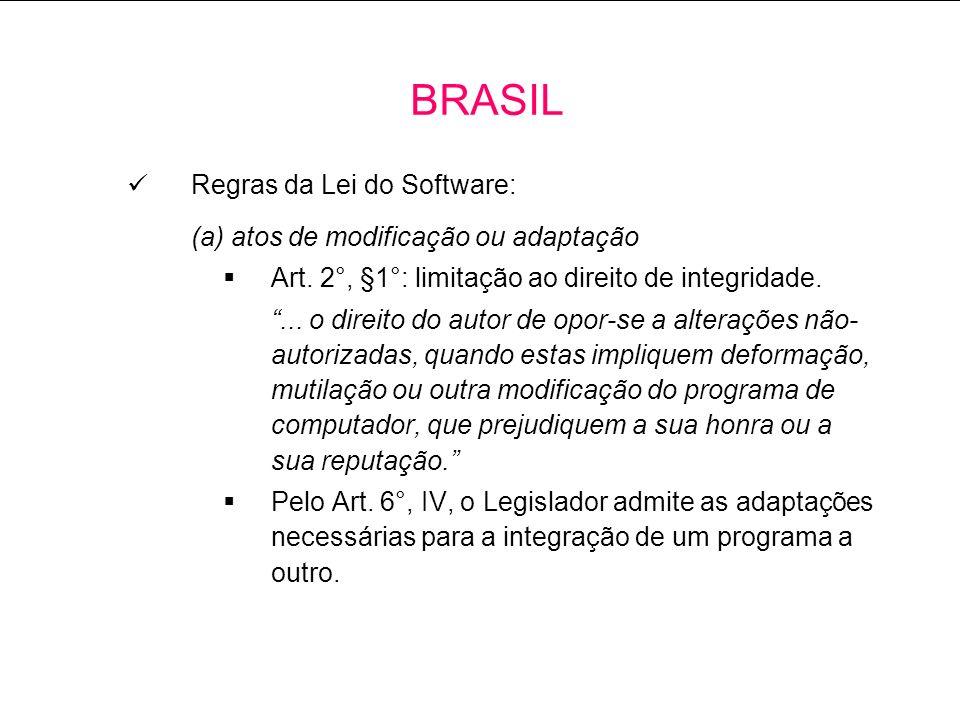 BRASIL Regras da Lei do Software: (a) atos de modificação ou adaptação