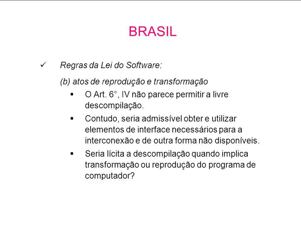 BRASIL Regras da Lei do Software: