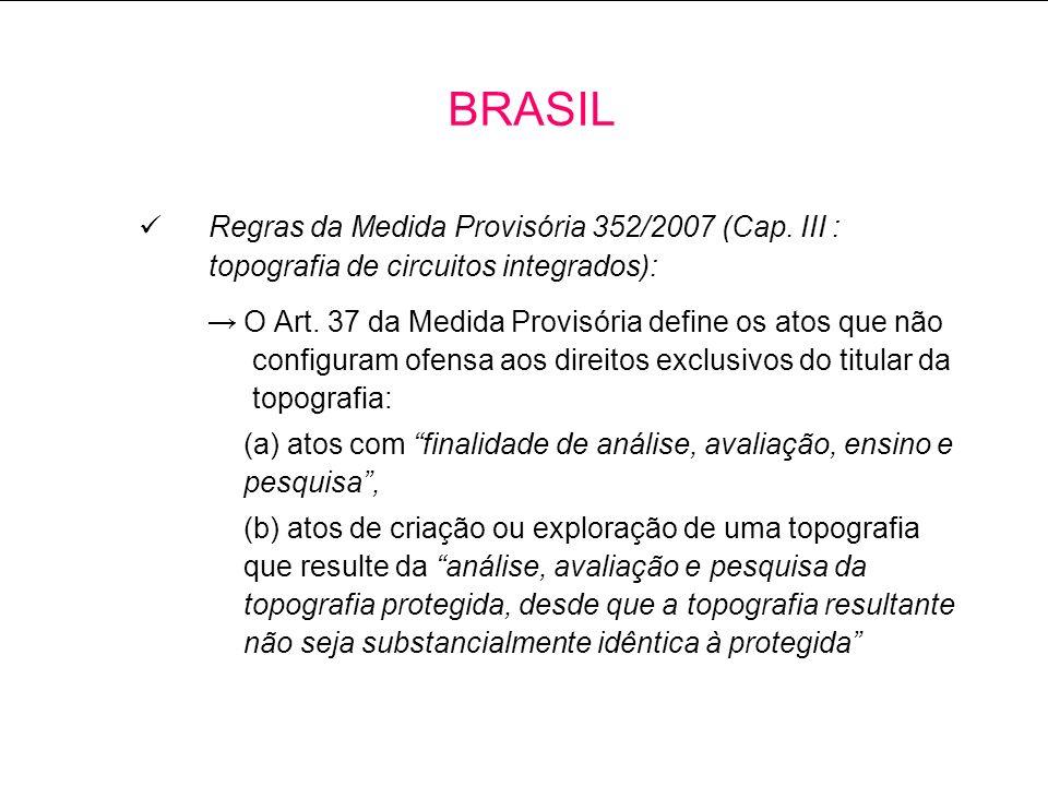 BRASIL Regras da Medida Provisória 352/2007 (Cap. III : topografia de circuitos integrados):