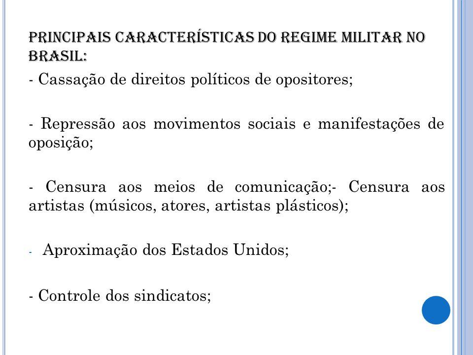 Principais características do regime militar no Brasil: