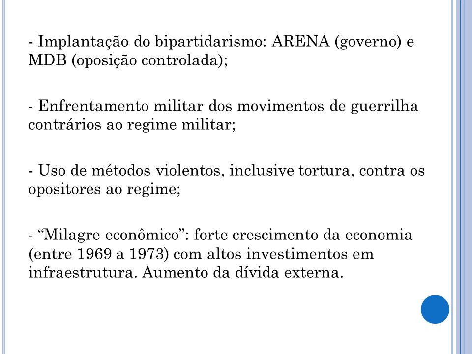 - Implantação do bipartidarismo: ARENA (governo) e MDB (oposição controlada);