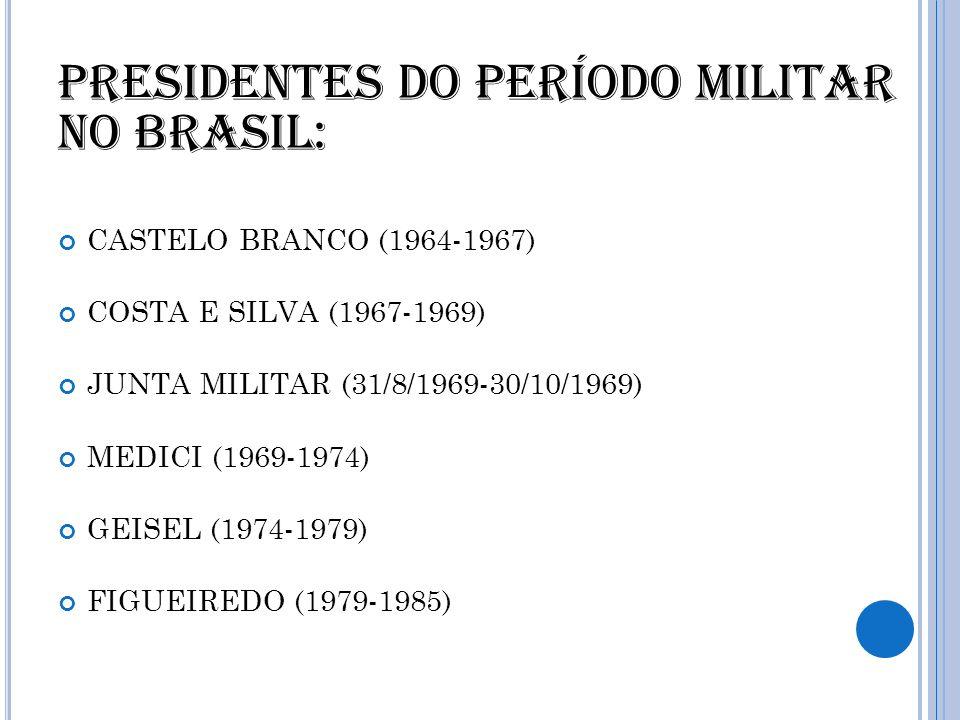 Presidentes do período militar no Brasil: