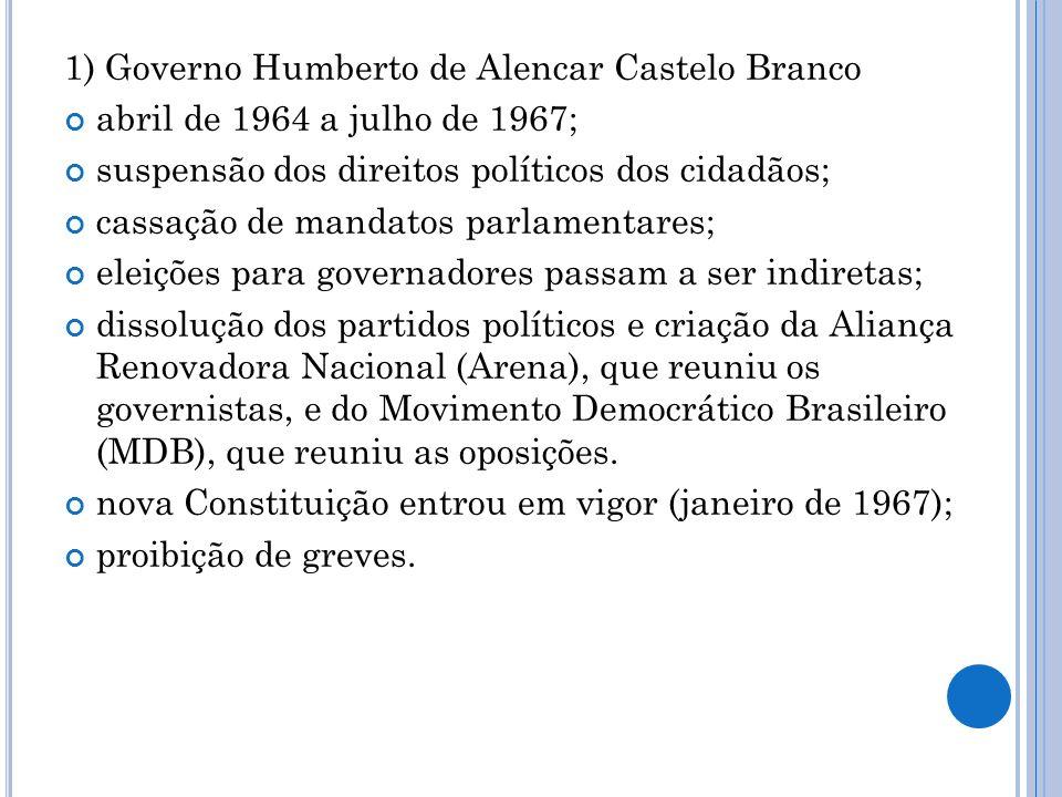 1) Governo Humberto de Alencar Castelo Branco