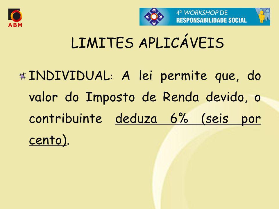 LIMITES APLICÁVEIS INDIVIDUAL: A lei permite que, do valor do Imposto de Renda devido, o contribuinte deduza 6% (seis por cento).