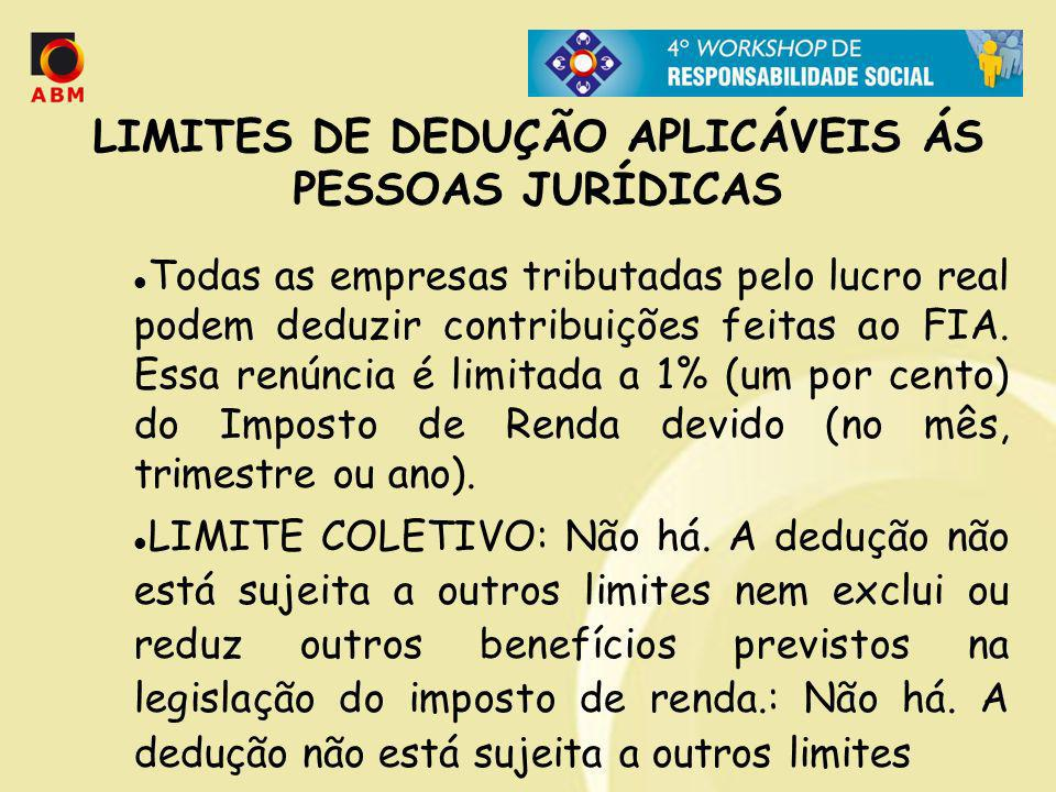 LIMITES DE DEDUÇÃO APLICÁVEIS ÁS PESSOAS JURÍDICAS