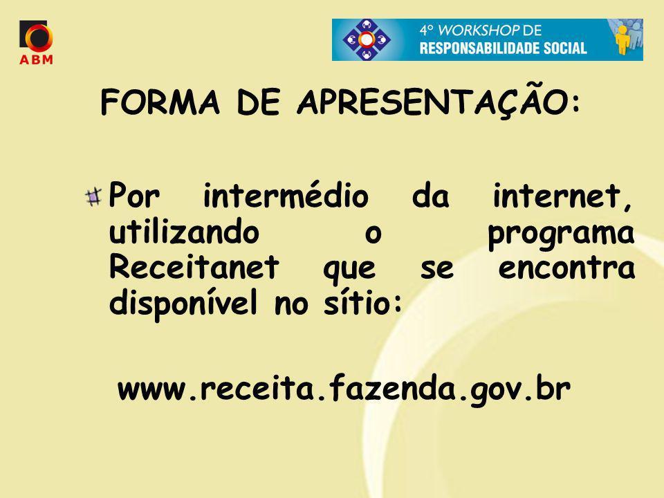 FORMA DE APRESENTAÇÃO: