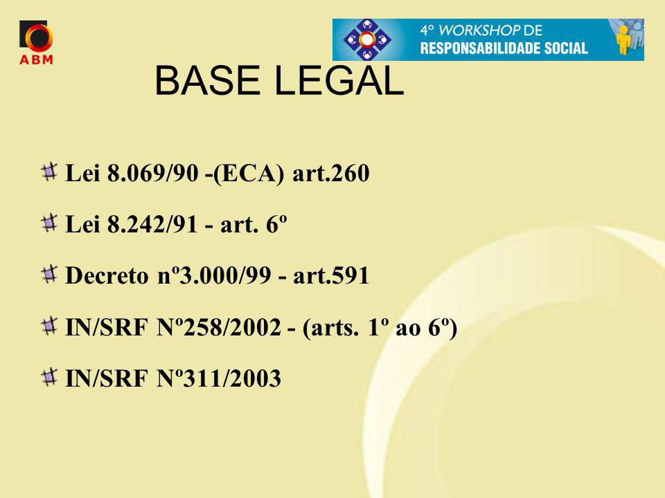 BASE LEGAL Lei 8.069/90 -(ECA) art.260 Lei 8.242/91 - art. 6º