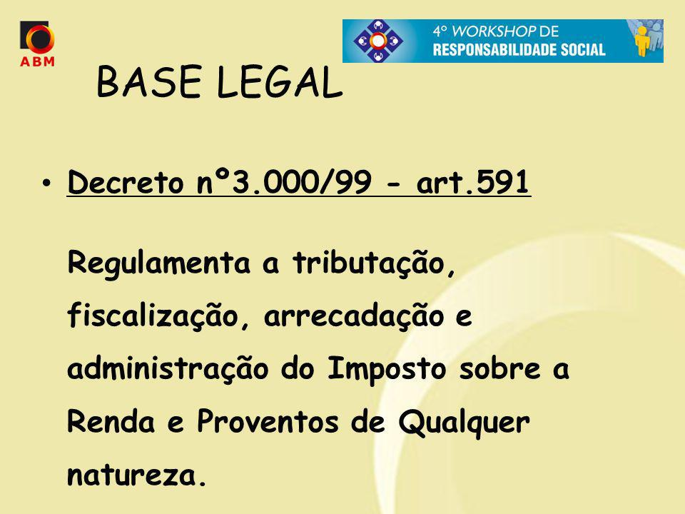 BASE LEGAL Decreto nº3.000/99 - art.591