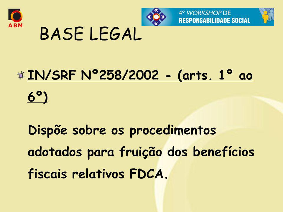 BASE LEGAL IN/SRF Nº258/2002 - (arts. 1º ao 6º)‏