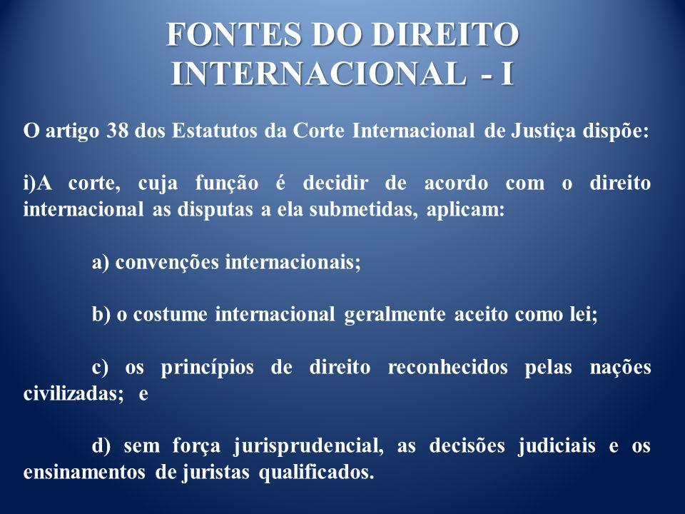 FONTES DO DIREITO INTERNACIONAL - I