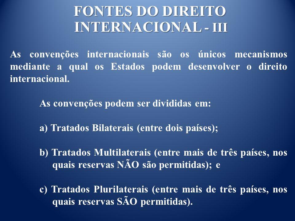 FONTES DO DIREITO INTERNACIONAL - III
