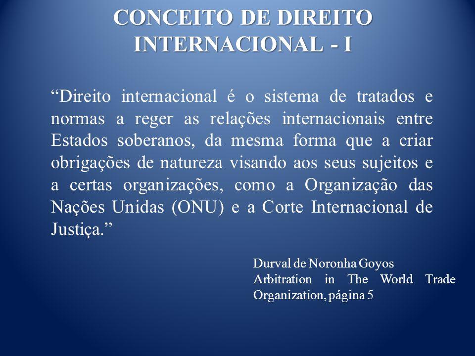 CONCEITO DE DIREITO INTERNACIONAL - I