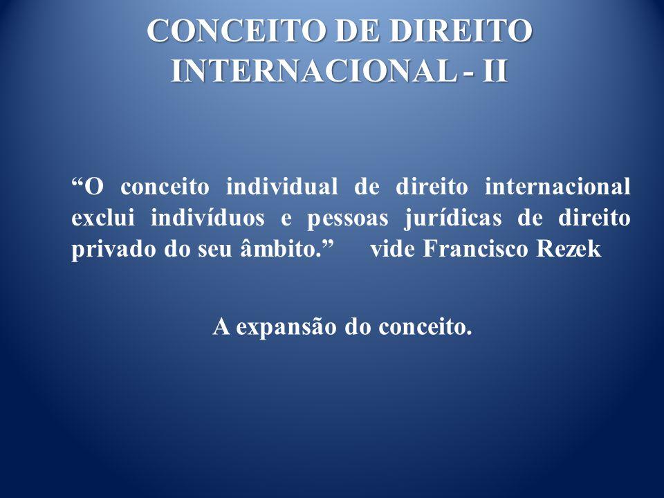 CONCEITO DE DIREITO INTERNACIONAL - II