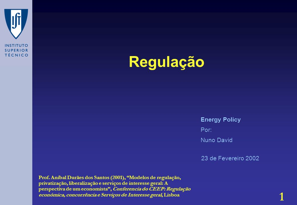 Regulação Energy Policy Por: Nuno David 23 de Fevereiro 2002