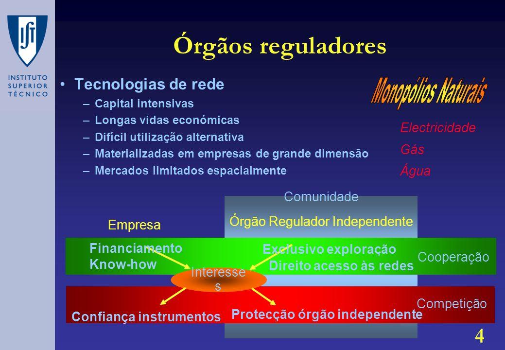 Órgãos reguladores Monopólios Naturais Tecnologias de rede