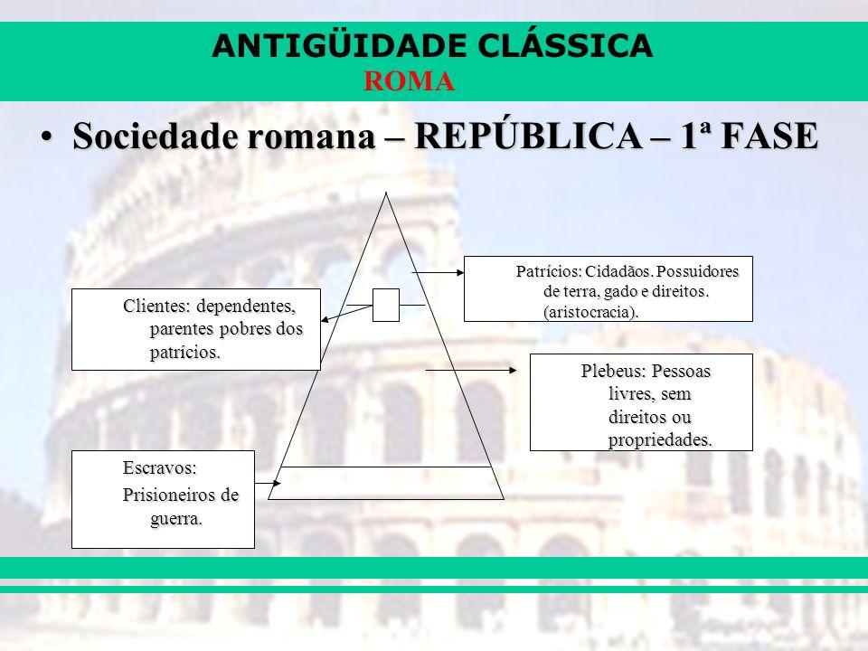 Sociedade romana – REPÚBLICA – 1ª FASE