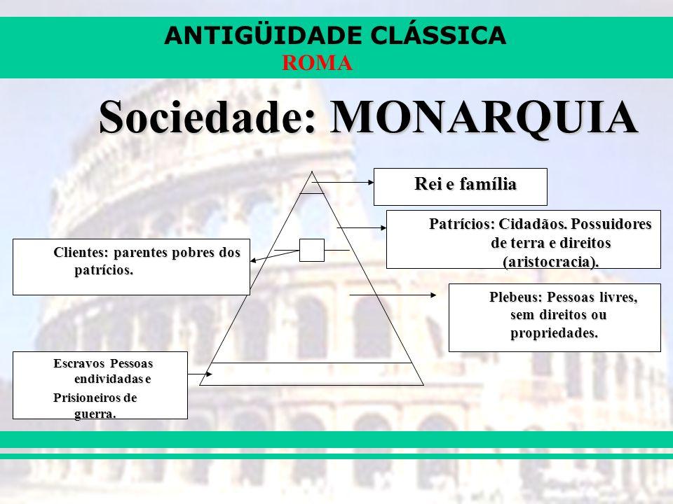 Patrícios: Cidadãos. Possuidores de terra e direitos (aristocracia).