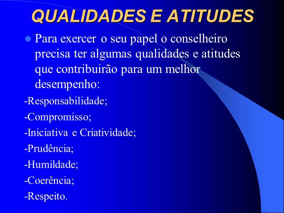 QUALIDADES E ATITUDES Para exercer o seu papel o conselheiro precisa ter algumas qualidades e atitudes que contribuirão para um melhor desempenho: