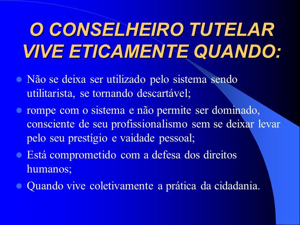 O CONSELHEIRO TUTELAR VIVE ETICAMENTE QUANDO: