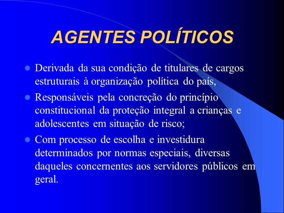 AGENTES POLÍTICOS Derivada da sua condição de titulares de cargos estruturais à organização política do país,