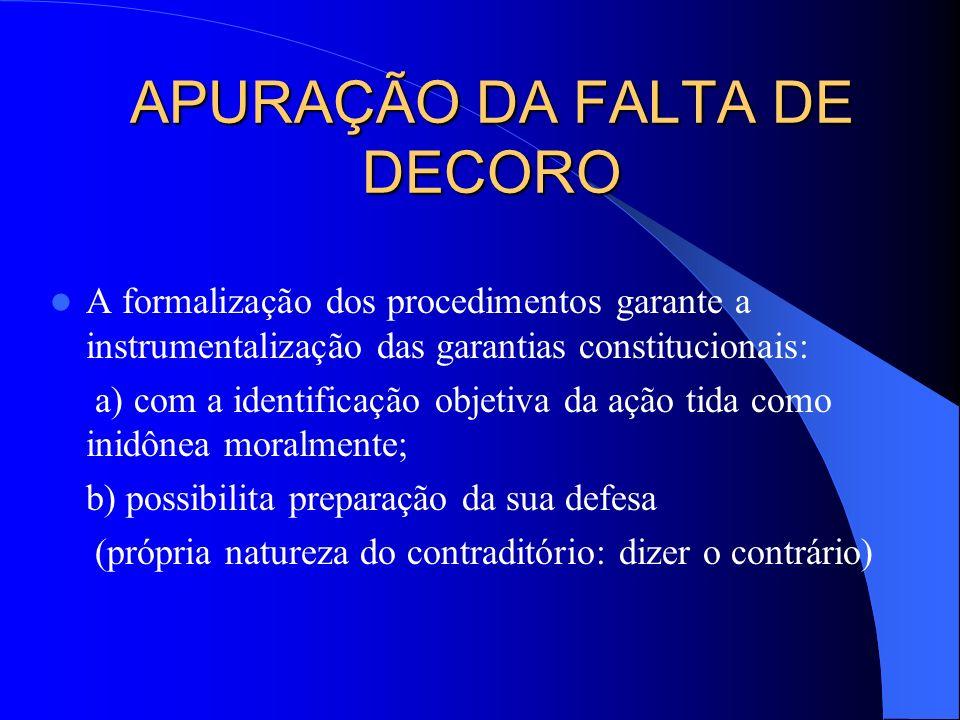APURAÇÃO DA FALTA DE DECORO