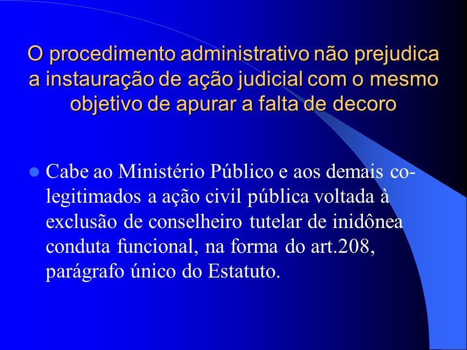 O procedimento administrativo não prejudica a instauração de ação judicial com o mesmo objetivo de apurar a falta de decoro
