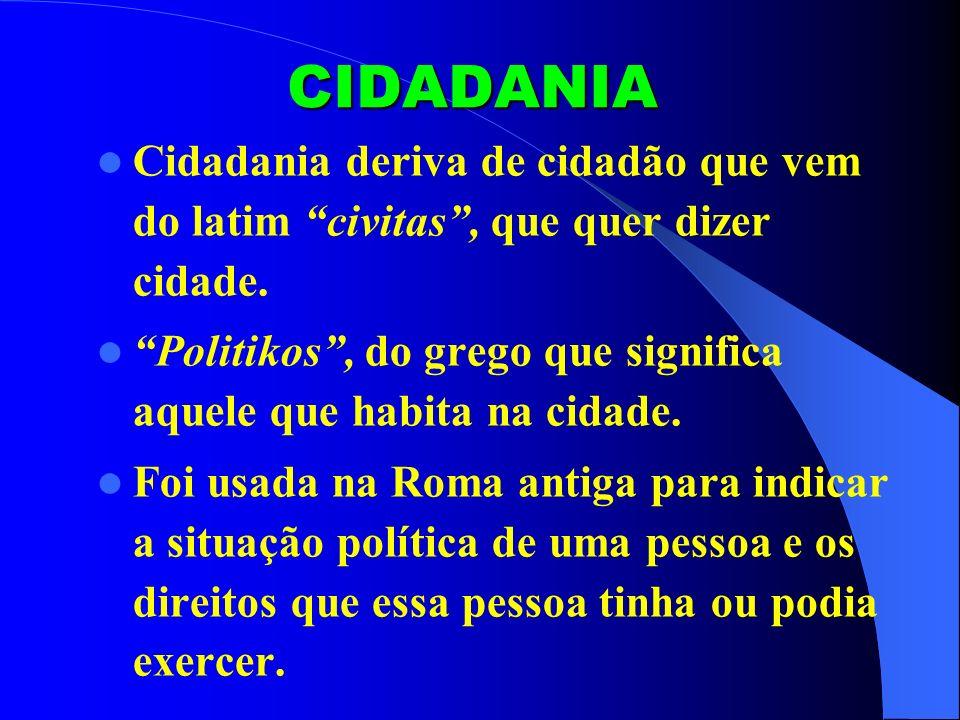 CIDADANIA Cidadania deriva de cidadão que vem do latim civitas , que quer dizer cidade.