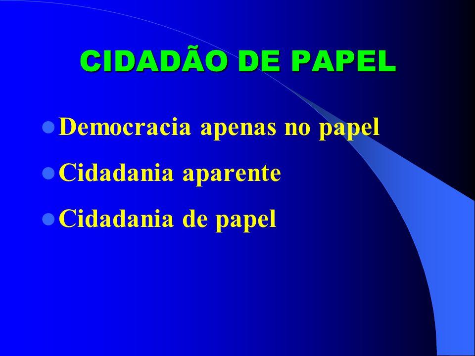 CIDADÃO DE PAPEL Democracia apenas no papel Cidadania aparente
