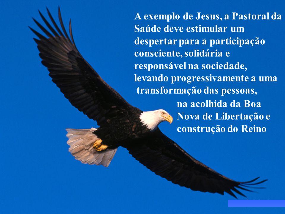 A exemplo de Jesus, a Pastoral da Saúde deve estimular um despertar para a participação consciente, solidária e responsável na sociedade, levando progressivamente a uma