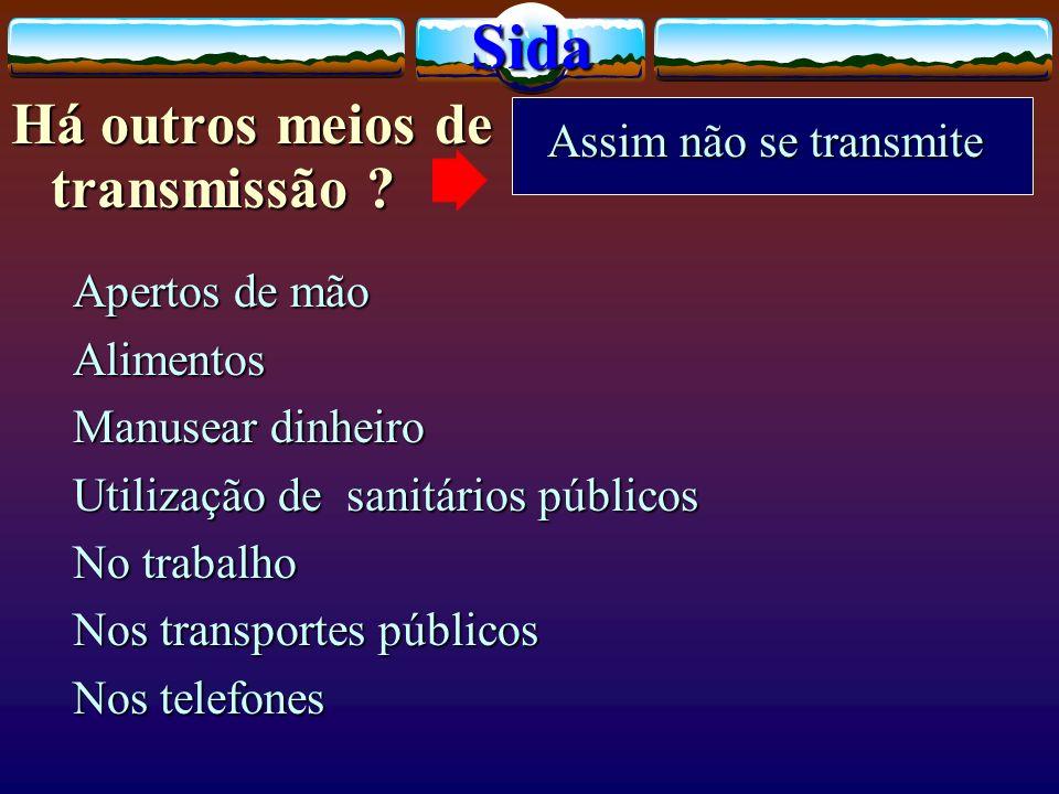 Sida Há outros meios de transmissão Assim não se transmite