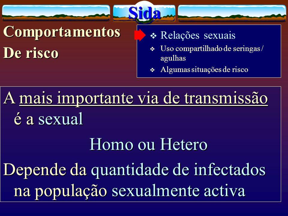 A mais importante via de transmissão é a sexual Homo ou Hetero