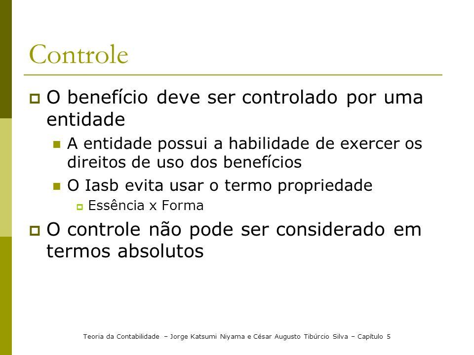 Controle O benefício deve ser controlado por uma entidade