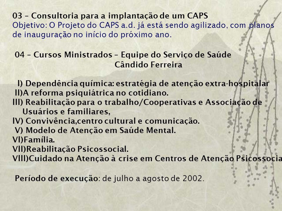 04 – Cursos Ministrados – Equipe do Serviço de Saúde