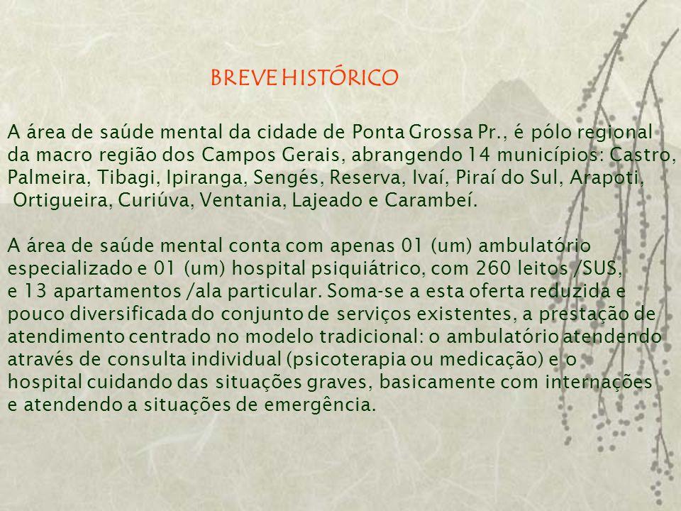 BREVE HISTÓRICO A área de saúde mental da cidade de Ponta Grossa Pr., é pólo regional.