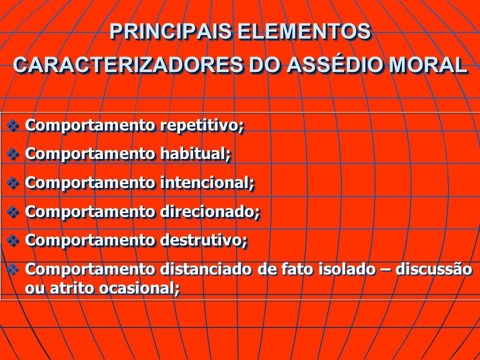 PRINCIPAIS ELEMENTOS CARACTERIZADORES DO ASSÉDIO MORAL