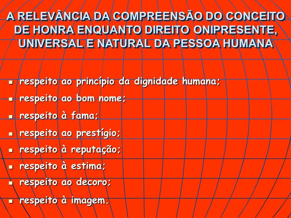 A RELEVÂNCIA DA COMPREENSÃO DO CONCEITO DE HONRA ENQUANTO DIREITO ONIPRESENTE, UNIVERSAL E NATURAL DA PESSOA HUMANA