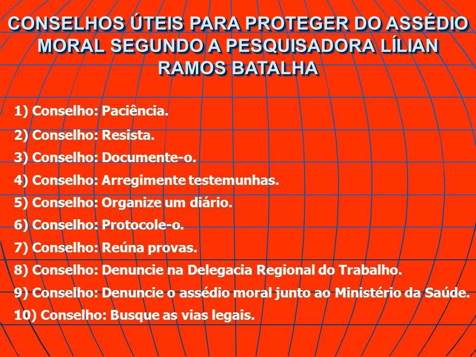 CONSELHOS ÚTEIS PARA PROTEGER DO ASSÉDIO MORAL SEGUNDO A PESQUISADORA LÍLIAN RAMOS BATALHA