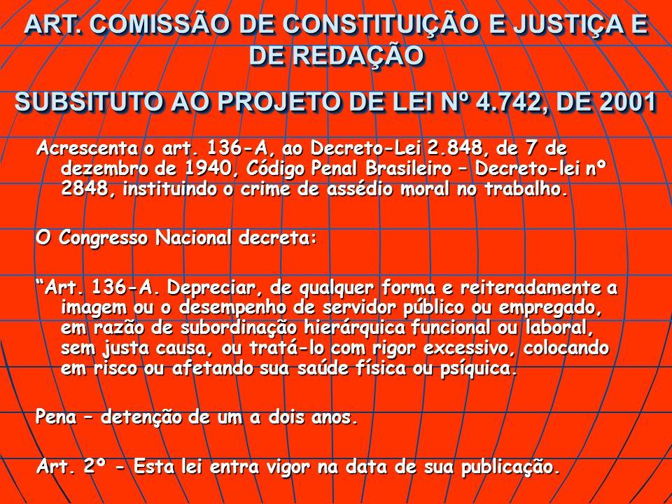 ART. COMISSÃO DE CONSTITUIÇÃO E JUSTIÇA E DE REDAÇÃO SUBSITUTO AO PROJETO DE LEI Nº 4.742, DE 2001